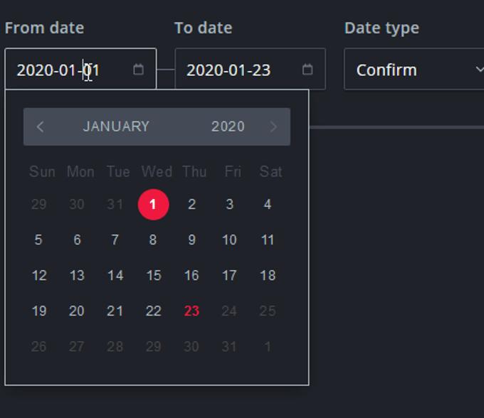 Date range filter