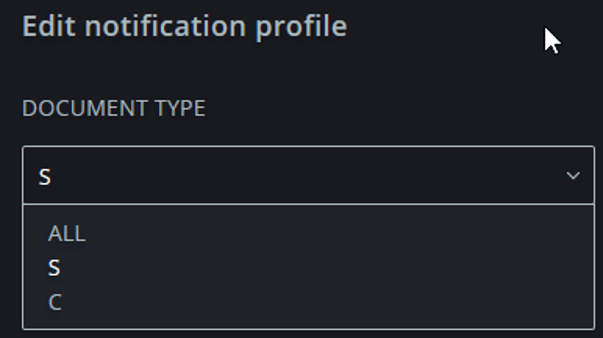 Edit notification profile